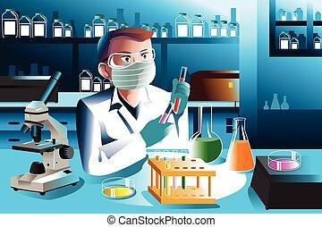 wissenschaftler, arbeitende , in, laboratorium