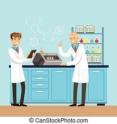 wissenschaftler, forschen, in, a, labor, inneneinrichtung, von, wissenschaft, laboratorium, vektor, abbildung