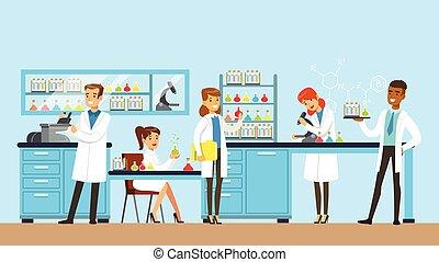 wissenschaftler, mann frau, leiten, forschung, in, a, labor, inneneinrichtung, von, wissenschaft, laboratorium, vektor, abbildung