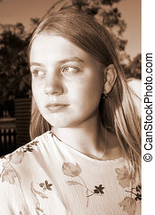 wistful girl