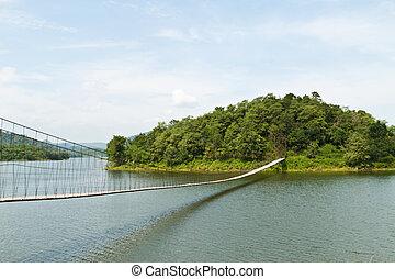 wisząc, most, w, przedimek określony przed rzeczownikami, las