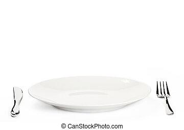 wit bord, met, bestek, op wit, achtergrond