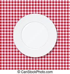 wit bord, op, tafelkleed