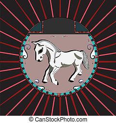 wit paard, cirkel