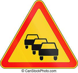 wit-rusland, rijen, -, meldingsbord, waarschijnlijk, gebruikt, verkeer, waarschuwend, straat