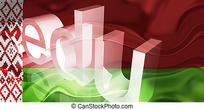 wit-rusland vlag, golvend, opleiding