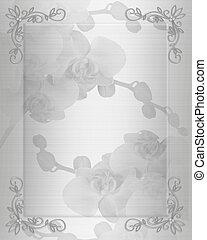 wit satijn, orchids, huwelijk uitnodiging