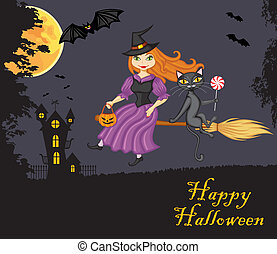 Witch and a cat on a broom