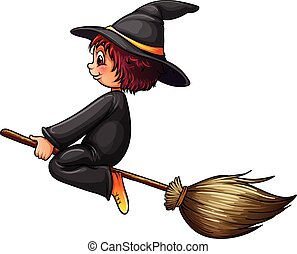 Witch and broom - Close up witch riding on a broom