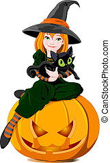 Witch and cat - Illustration of a cute little witch with...