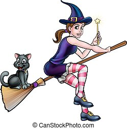 Witch and Cat on Broomstick with Magic Wand