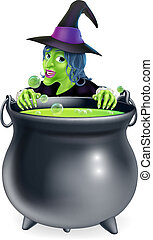 Witch and Cauldron Cartoon - A cartoon witch character...