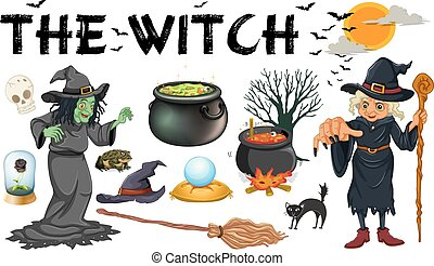 Witch and dark magic objects illustration