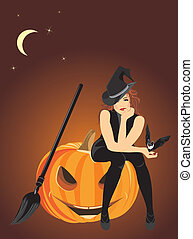 Witch and halloween pumpkin - Sitting witch on the halloween...