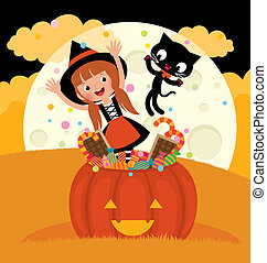Witch and her cat celebrate Hallowe