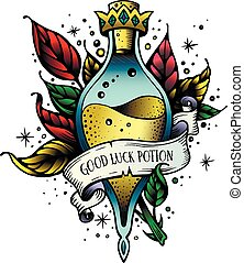 Witch and magic flask potion with crown, branches with leaves, decorative tape for your inscription. Vector illustration. Line art potion of good luck. Oldschool newschool vintage good luck tattoo sketch.