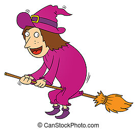 witch and magical broom