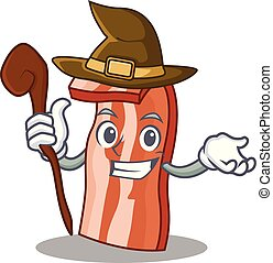 Witch bacon mascot cartoon style vector illustration