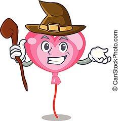 Witch ballon heart mascot cartoon