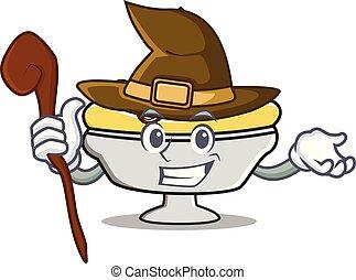 Witch banana split mascot cartoon vector illustration