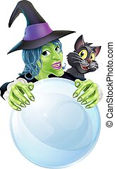 Witch black cat and crystal ball - A cartoon Witch black cat...