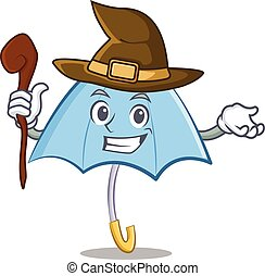 Witch blue umbrella character cartoon