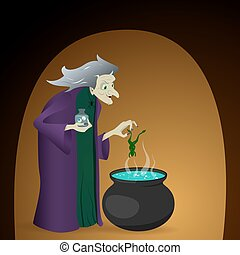 witch brew a potion in cauldron. halloween