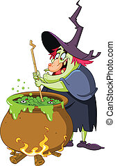 Witch brew - Witch preparing a potion