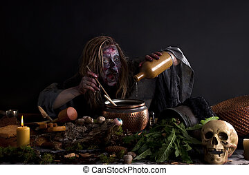 ygly witch brewing potion in laboratory
