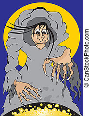 Witch brews a potion