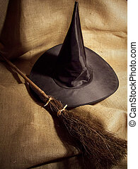 Witch's Broom and Hat