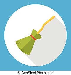 Witch broom flat icon