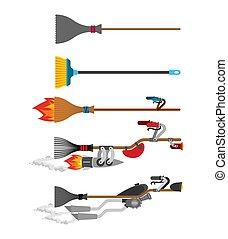 Witch broom set Technology evolution. Broomstick Speeding ...