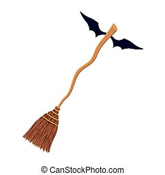 witch broom with bat wings flying