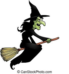 A cartoon witch flying on a broomstick.