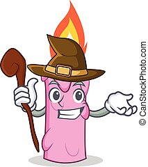 Witch candle character cartoon style vector illustration