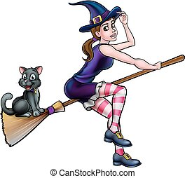 Witch Cartoon Character Flying On Broomstick - Witch and cat...