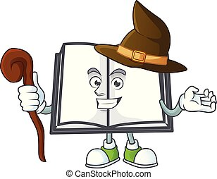 Witch cartoon open book with cartoon shape