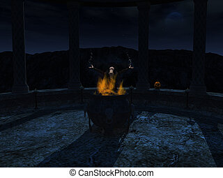 Witch casting a spell at night. - A witch standing behind a...