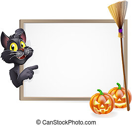 Witch Cat Halloween Sign