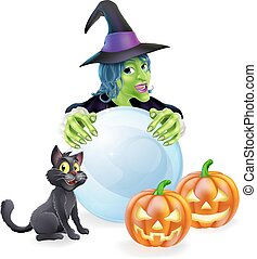 Witch cat pumpkins and crystal ball - A halloween...