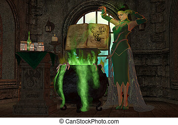 Witch Cauldron - A snake witch puts an evil spell on a...