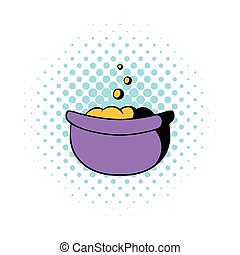 Witch cauldron with potion icon, comics style