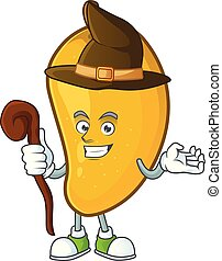 Witch character mango fruit with cartoon mascot