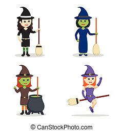witch character set illustration design
