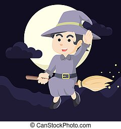 witch cheerful flying with her