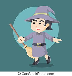 witch cheerful holding her broom