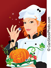 Witch - chef cooking for Halloween