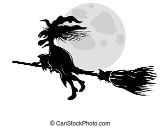 witch - isolated the witch silhouette flying under moon