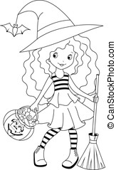 Witch coloring - Little girl goes for Halloween, coloring...